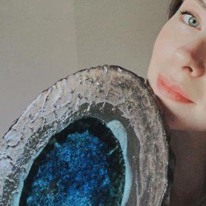 Mavi Camlı Dekor Seramik Kase