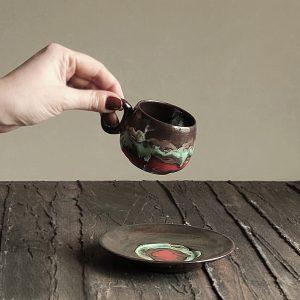 Denge El Yapımı Seramik Türk Kahve Fincan / Espresso Seti